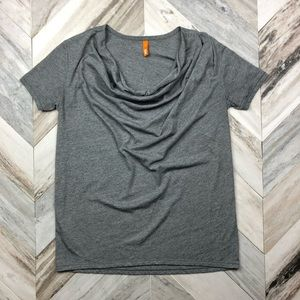 Lucy Athletic Grey Cowl Neck Tee Size Small